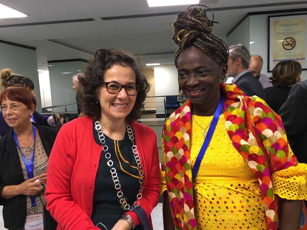 """Madame Al Nashif ADG du secteur SHS à l'UNESCO et Lucie Agbo, fondatrice de l'association """"femmes aux mille bras"""""""